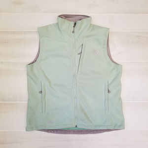 {L} North Face Light Green Zippered Vest